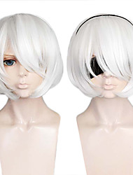 cheap -NieR:Automata 2B Cosplay Wigs Women's Bob 12 inch Heat Resistant Fiber kinky Straight White White Anime