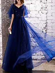 cheap -A-Line V Neck Floor Length Polyester Glittering / Blue Prom / Formal Evening Dress with Sequin 2020