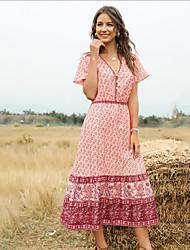 Недорогие -Жен. Макси Розовый Красный Платье С летящей юбкой С принтом V-образный вырез S M