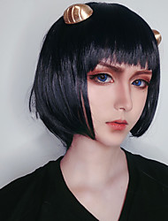cheap -JoJo's Bizarre Adventure Bruno Bucciarati Cosplay Wigs Women's Bob Straight bangs 11 inch Heat Resistant Fiber kinky Straight Black Black Anime