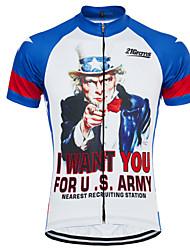 Недорогие -21Grams Ретро Американский / США Дядя Сэм Муж. С короткими рукавами Велокофты - Синий / белый Велоспорт Джерси Верхняя часть Дышащий Быстровысыхающий Влагоотводящие Виды спорта Терилен / Флаги