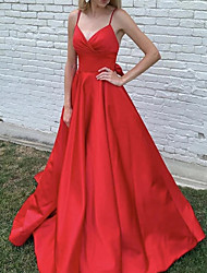cheap -A-Line V Neck Sweep / Brush Train Stretch Satin Elegant / Red Engagement / Formal Evening Dress with Bow(s) / Pleats 2020