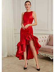 cheap -Mermaid / Trumpet Jewel Neck Asymmetrical Polyester / Tulle Sexy / Red Formal Evening / Party Wear Dress with Draping 2020