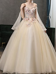 cheap -Ball Gown Strapless Sweep / Brush Train Lace Long Sleeve Beach Wedding Dress in Color Wedding Dresses with Lace Insert / Appliques 2020