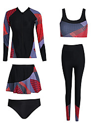 cheap -Women's Rashguard Swimsuit Elastane Top Bottoms Thermal / Warm Breathable Quick Dry Full Body Swimming Surfing Water Sports Patchwork Autumn / Fall Spring Summer / Winter / High Elasticity