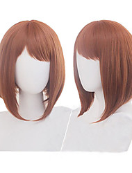 cheap -Synthetic Wig kinky Straight Halloween Asymmetrical Wig Short Brown Synthetic Hair 11 inch Women's Best Quality Brown