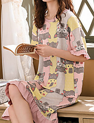 cheap -Women's Round Neck Chemises & Gowns Pajamas Geometric