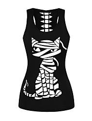 cheap -Women's Daily Sports Basic / Punk & Gothic Tank Top - Cartoon Print Black