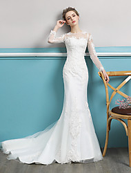 cheap -Mermaid / Trumpet Jewel Neck Court Train Polyester / Lace / Tulle Long Sleeve Sexy Illusion Sleeve Wedding Dresses with Lace / Appliques 2020