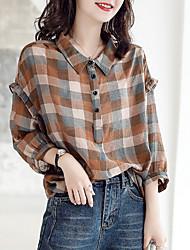 cheap -Women's Plaid Blouse Daily Shirt Collar Brown
