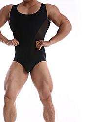 cheap -Men's Black White Orange One-piece Swimwear Swimsuit - Solid Colored S M L Black