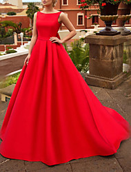 cheap -A-Line Jewel Neck Sweep / Brush Train Satin Sleeveless Beach Red Wedding Dresses with Bow(s) 2020