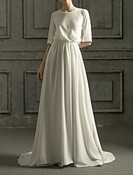 cheap -A-Line Jewel Neck Sweep / Brush Train Chiffon / Satin Half Sleeve Simple Elegant Wedding Dresses with Side-Draped 2020