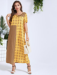 cheap -Women's Daily Work Casual Active A Maxi Line Dress - Color Block Yellow S M L XL