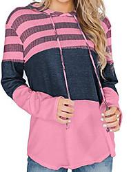 cheap -Women's Hoodie Color Block Casual White Blue Red Blushing Pink Fuchsia Green Gray S M L XL XXL