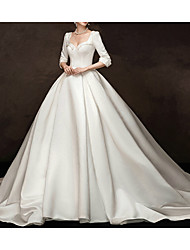 cheap -Ball Gown Sweetheart Neckline Watteau Train Satin Half Sleeve Simple / Vintage Elegant Wedding Dresses with Beading 2020