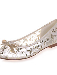 cheap -Women's Wedding Shoes Mesh Flat Heel Round Toe Bowknot Lace Sweet Spring & Summer Red / Pink / Gold / Party & Evening