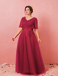 cheap -A-Line Plus Size Red Engagement Formal Evening Dress V Neck Short Sleeve Floor Length Lace Satin Tulle with Bow(s) Criss Cross 2020
