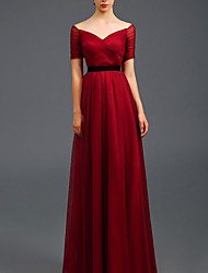 cheap -A-Line Off Shoulder Floor Length Tulle Red / Blue Prom / Formal Evening Dress with Ruched / Pleats 2020