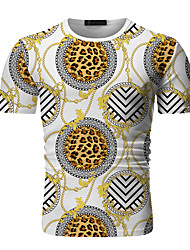 cheap -Men's Going out Work Business / Elegant T-shirt - Leopard / Color Block / Plaid Print Black