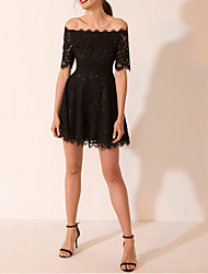 cheap -A-Line Little Black Dress Homecoming Cocktail Party Dress Off Shoulder Short Sleeve Short / Mini Lace Satin with Pleats 2020