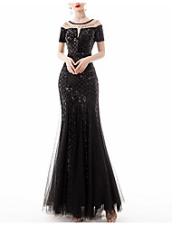 cheap -Mermaid / Trumpet Illusion Neck Floor Length Polyester Sexy / Black Prom / Formal Evening Dress with Sequin / Appliques 2020