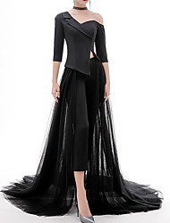 cheap -Jumpsuits V Neck Sweep / Brush Train Polyester / Tulle Sexy / Black Formal Evening / Party Wear Dress with Split 2020