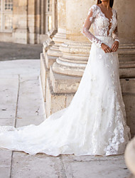 cheap -A-Line Wedding Dresses Plunging Neck Court Train Lace Tulle Long Sleeve Formal Plus Size Illusion Sleeve with Lace Appliques 2020