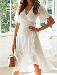 cheap -Women's Asymmetrical White Dress A Line Solid Color Deep V S M