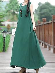 cheap -Women's A Line Dress - Solid Color Black Green L XL