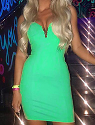cheap -Women's Green Dress Bodycon Solid Color V Neck S M