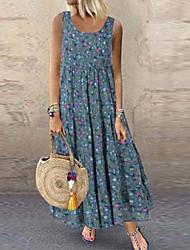 cheap -Women's Maxi Loose Dress - Sleeveless Print Loose Blue Yellow Orange Beige S M L XL XXL XXXL XXXXL XXXXXL
