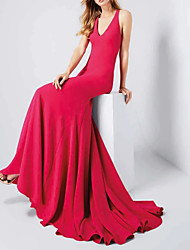 cheap -Mermaid / Trumpet Halter Neck Sweep / Brush Train Polyester Sexy / Red Engagement / Formal Evening Dress with Sleek 2020