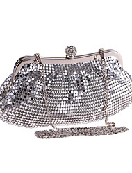 cheap -Women's Bags Polyester Evening Bag Crystals Sequin Solid Color Floral Print Wedding Bags Wedding Party Event / Party Silver