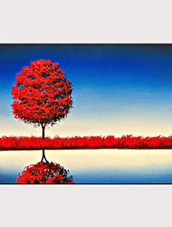 cheap -Handmade Oil Painting on Canvas Abstract Landscape Wall Art Lake The Reflection Scenery Artwork