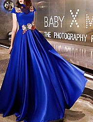 cheap -A-Line Chinese Style Blue Engagement Prom Dress High Neck Short Sleeve Floor Length Polyester with Embroidery Appliques 2020