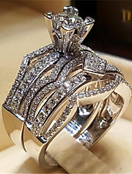 cheap -Couple's Ring AAA Cubic Zirconia 1pc Silver Silver 2 Silver 4 Platinum Plated Alloy Stylish Wedding Gift Jewelry Cute / Daily / Engagement