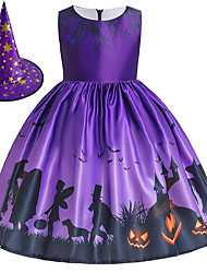 cheap -Witch Princess Dress Flower Girl Dress Girls' Movie Cosplay A-Line Slip Halloween Purple Dress Cap Children's Day Polyester / Cotton Blend Polyster / Sleeveless