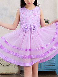cheap -Kids Girls' Cute Street chic Blue Floral Sequins Embroidered Sleeveless Above Knee Dress Purple
