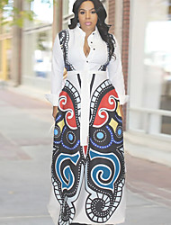 cheap -Women's White Dress Casual Daily Sheath Print Shirt Collar Butterfly Print S M
