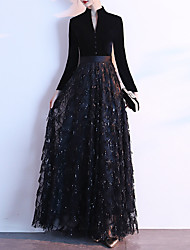cheap -A-Line High Neck Floor Length Sequined / Velvet Glittering / Black Prom / Formal Evening Dress with Sequin / Buttons 2020