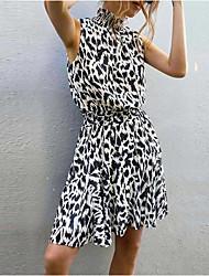 cheap -Women's White Dress Sheath Leopard S M