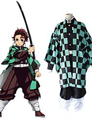 cheap -Inspired by Demon Slayer: Kimetsu no Yaiba Kamado Tanjirou Anime Cosplay Costumes Japanese Cosplay Suits Top Pants Cloak For Women's Men's / Kneepad / Waist Belt