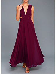 cheap -A-Line Sexy Engagement Prom Dress V Neck Sleeveless Floor Length Chiffon with Pleats 2021