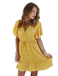 cheap -Women's Yellow Red Dress Boho Street chic Beach A Line Floral Deep V Print S M Loose / Cotton