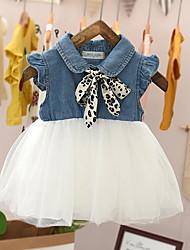 cheap -Baby Girls' Basic Color Block Sleeveless Dress White