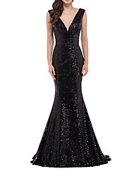 cheap -Mermaid / Trumpet Blue Black Prom Formal Evening Dress V Neck Sleeveless Floor Length Polyester with Sequin 2020
