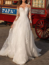 cheap -A-Line Wedding Dresses Jewel Neck Floor Length Polyester Long Sleeve Formal Boho Plus Size Illusion Sleeve with Draping Appliques 2020