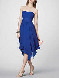 cheap -A-Line Strapless Tea Length Polyester Bridesmaid Dress with Ruching