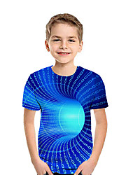 cheap -Kids Boys' Active Street chic Geometric 3D Patchwork Print Short Sleeve Tee Rainbow